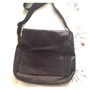 Lilith leather and wool messenger bag